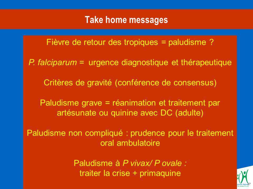 Take home messages Fièvre de retour des tropiques = paludisme