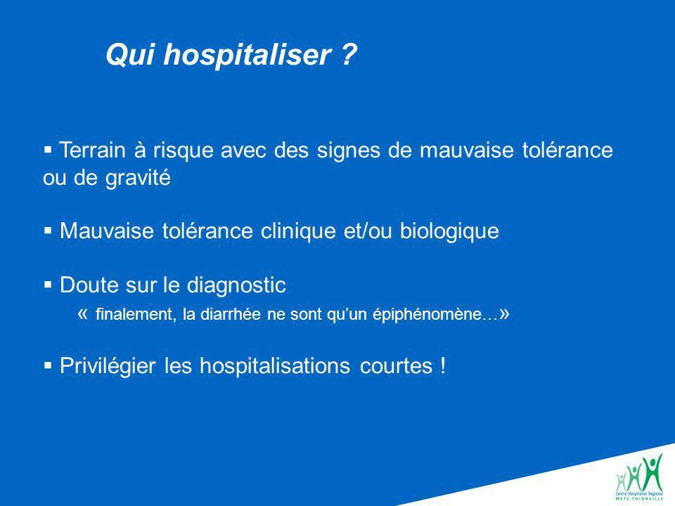 Qui hospitaliser Terrain à risque avec des signes de mauvaise tolérance ou de gravité. Mauvaise tolérance clinique et/ou biologique.