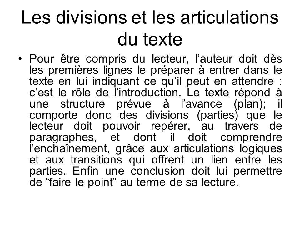 Les divisions et les articulations du texte