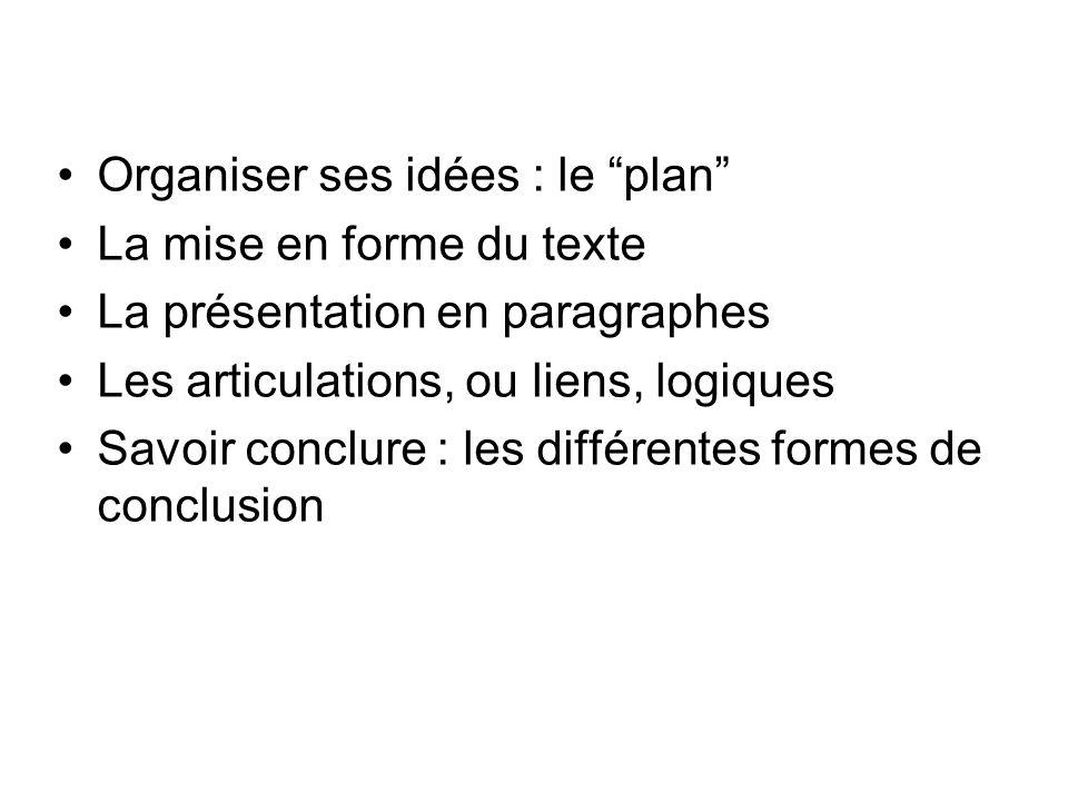 Organiser ses idées : le plan