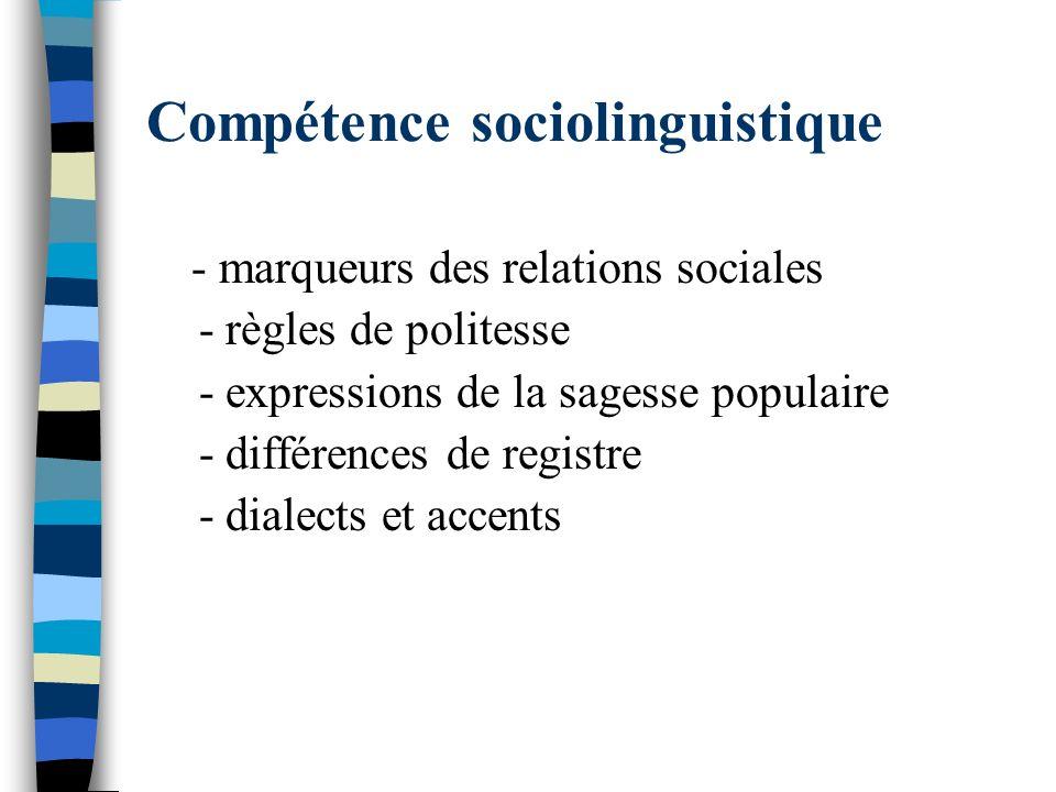 Compétence sociolinguistique
