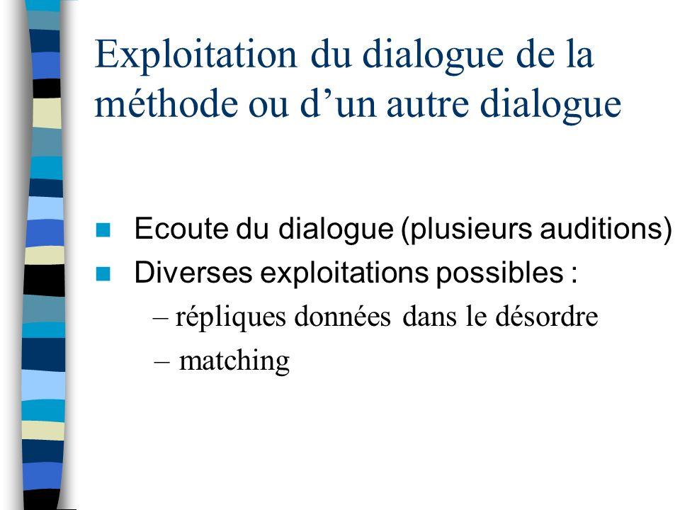 Exploitation du dialogue de la méthode ou d'un autre dialogue