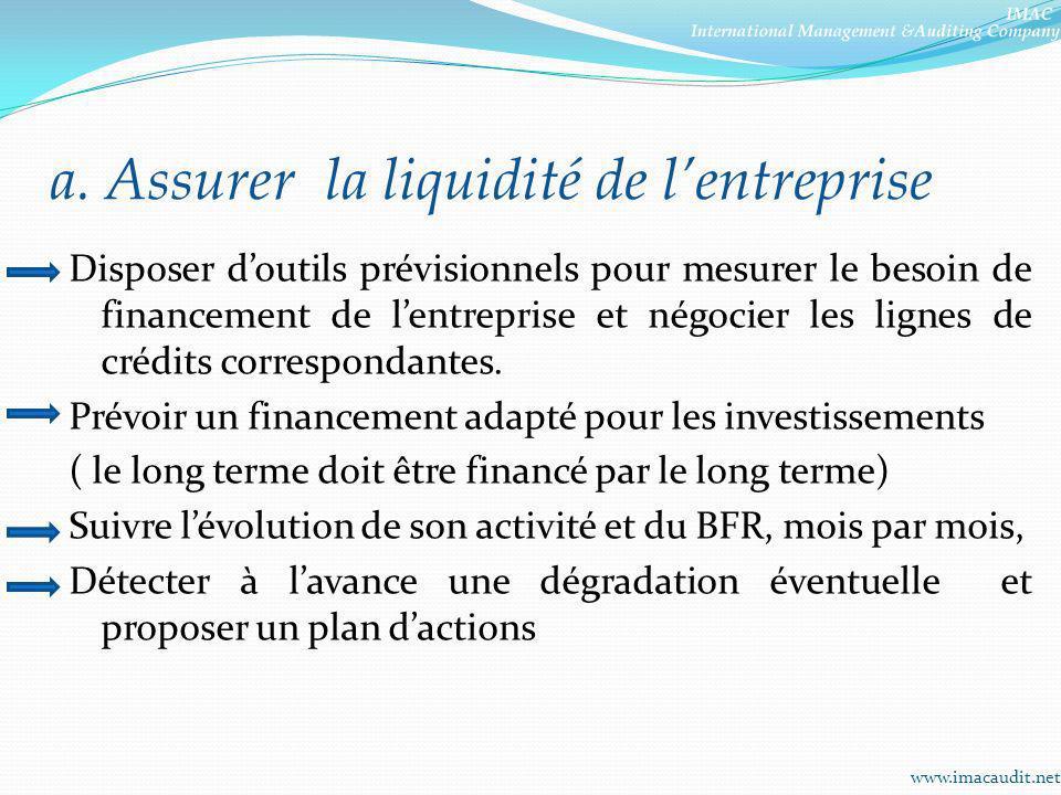 a. Assurer la liquidité de l'entreprise