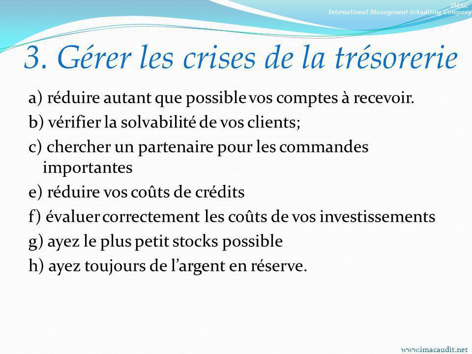 3. Gérer les crises de la trésorerie