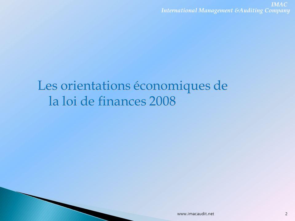 Les orientations économiques de la loi de finances 2008