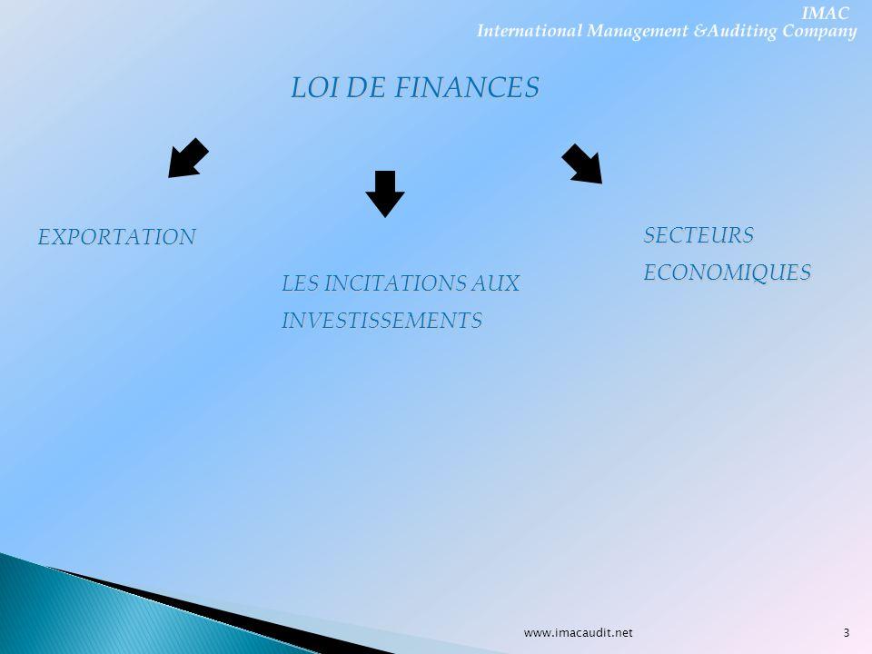 LOI DE FINANCES SECTEURS EXPORTATION ECONOMIQUES