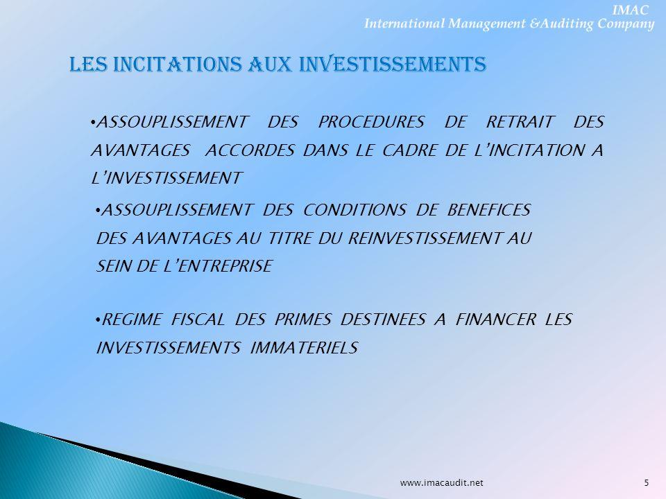 LES INCITATIONS AUX INVESTISSEMENTS