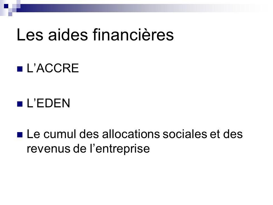 Les aides financières L'ACCRE L'EDEN