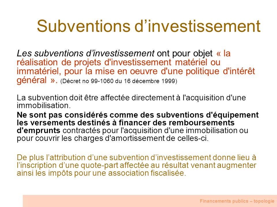 Subventions d'investissement