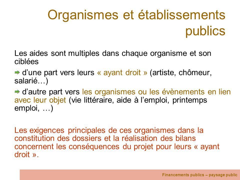 Organismes et établissements publics