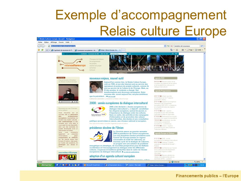 Exemple d'accompagnement Relais culture Europe