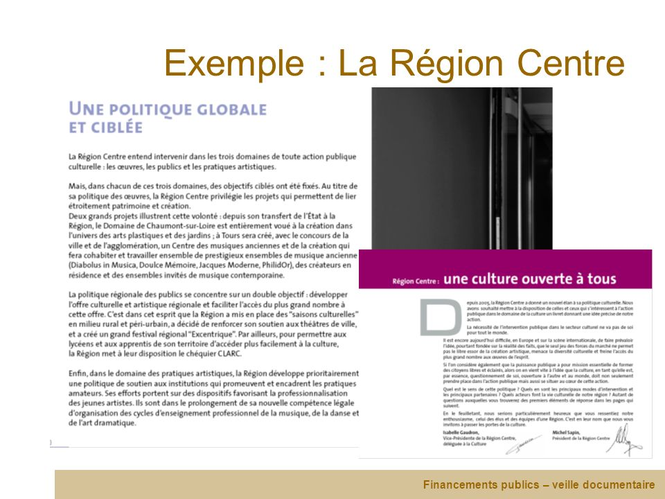 Exemple : La Région Centre
