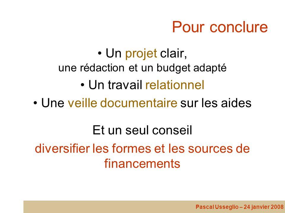 Pour conclure Un projet clair, une rédaction et un budget adapté