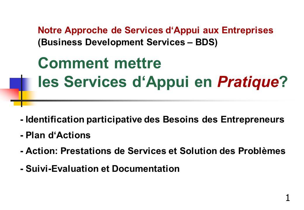 Notre Approche de Services d'Appui aux Entreprises (Business Development Services – BDS) Comment mettre les Services d'Appui en Pratique