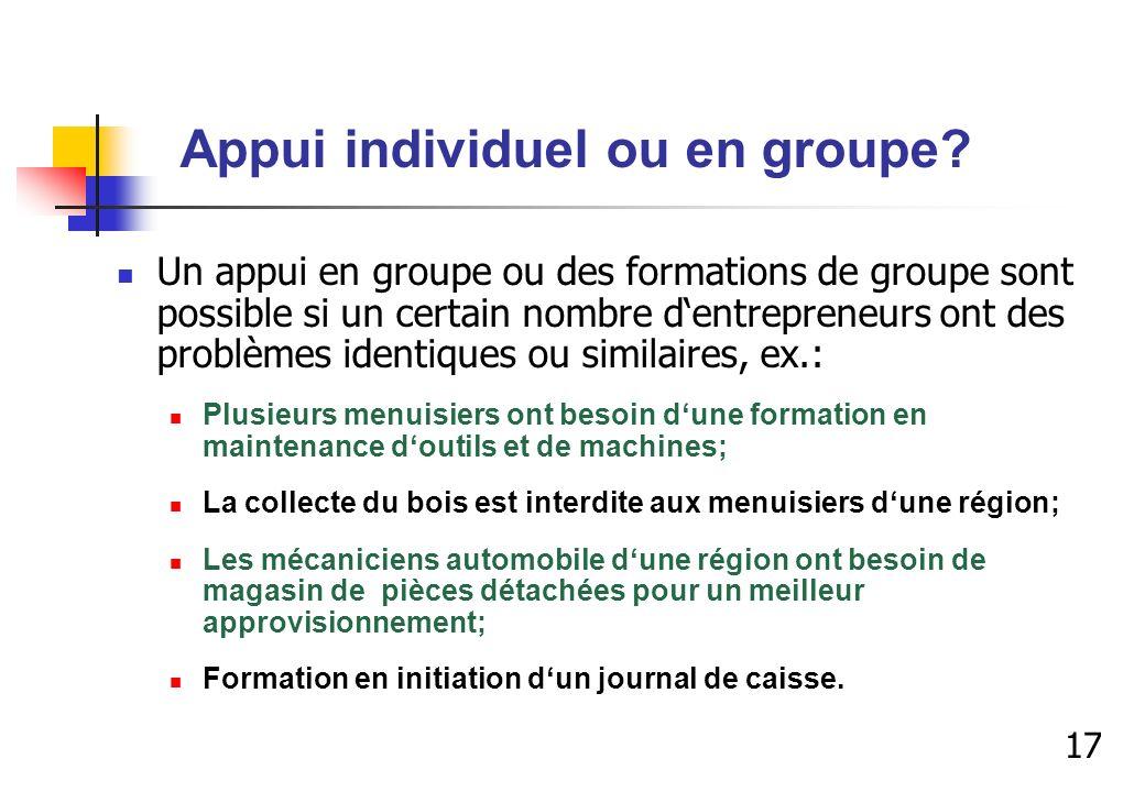 Appui individuel ou en groupe