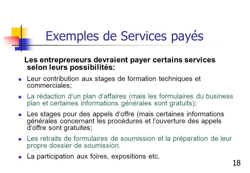 Exemples de Services payés
