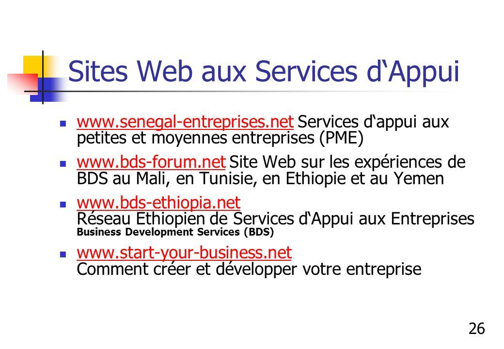 Sites Web aux Services d'Appui
