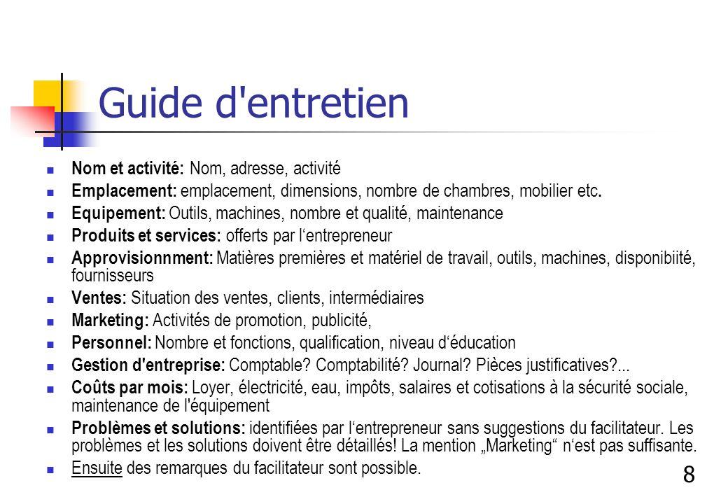 Guide d entretien 8 Nom et activité: Nom, adresse, activité