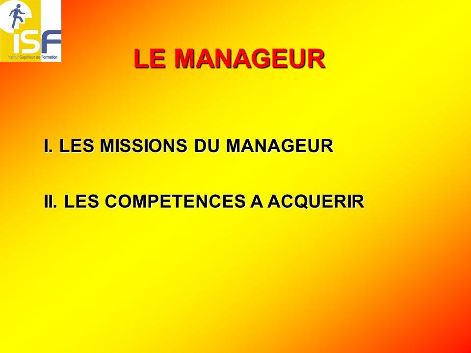LE MANAGEUR I. LES MISSIONS DU MANAGEUR II. LES COMPETENCES A ACQUERIR