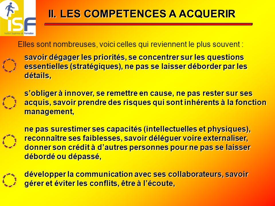II. LES COMPETENCES A ACQUERIR