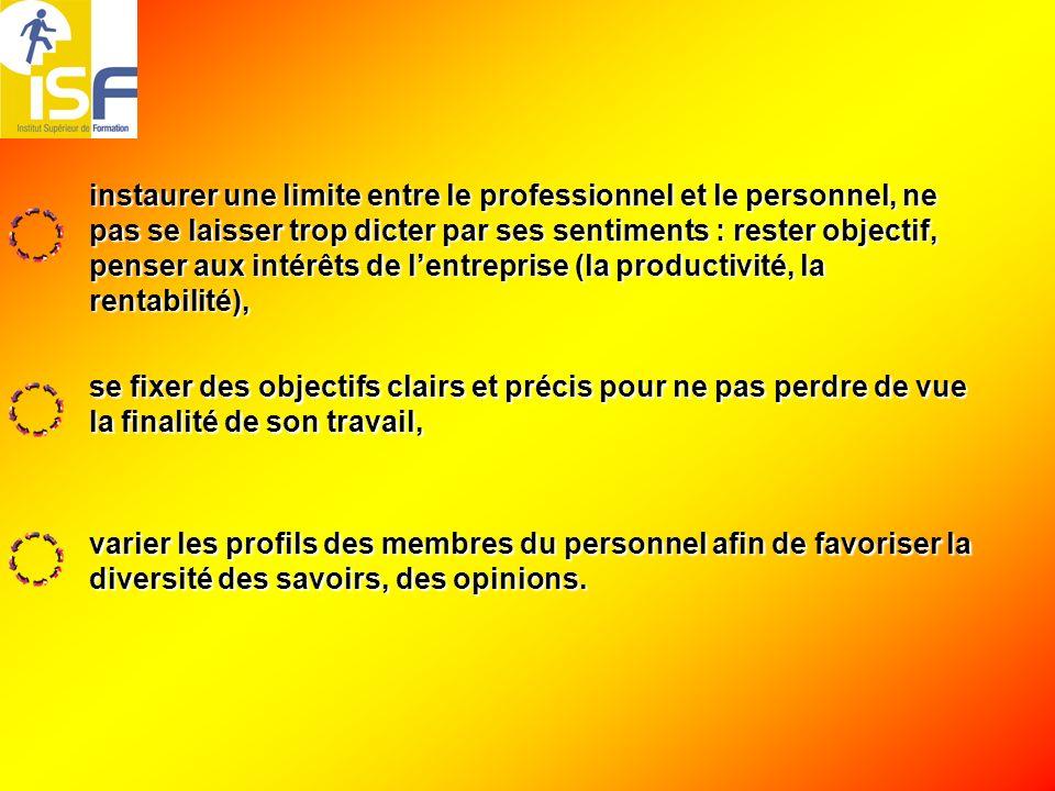 instaurer une limite entre le professionnel et le personnel, ne pas se laisser trop dicter par ses sentiments : rester objectif, penser aux intérêts de l'entreprise (la productivité, la rentabilité),