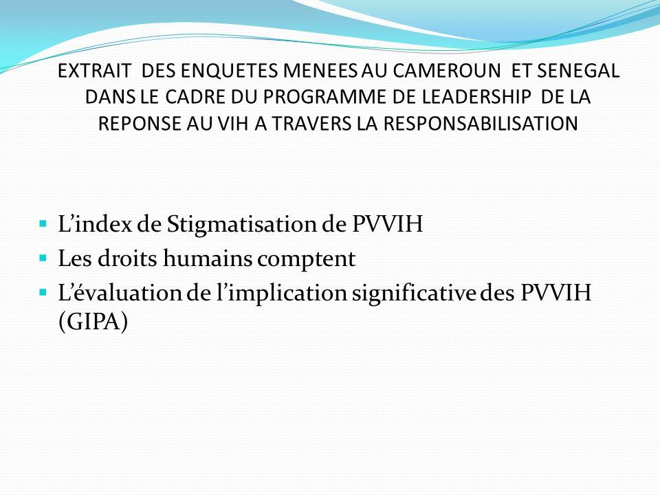 L'index de Stigmatisation de PVVIH Les droits humains comptent