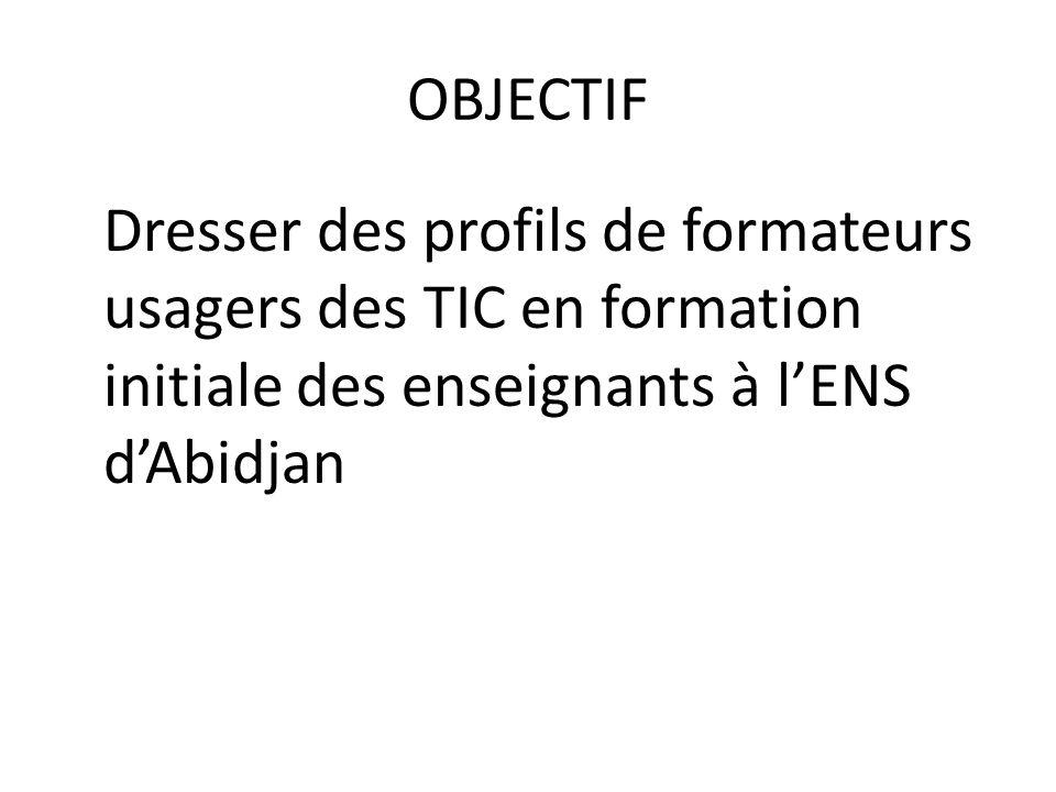 OBJECTIF Dresser des profils de formateurs usagers des TIC en formation initiale des enseignants à l'ENS d'Abidjan.
