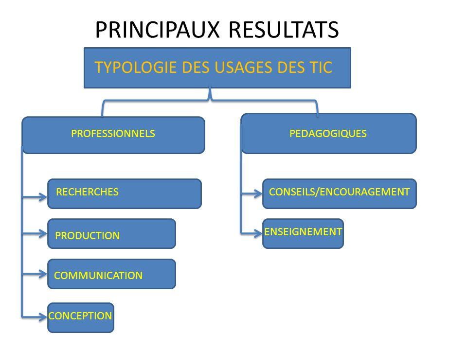 PRINCIPAUX RESULTATS TYPOLOGIE DES USAGES DES TIC PROFESSIONNELS