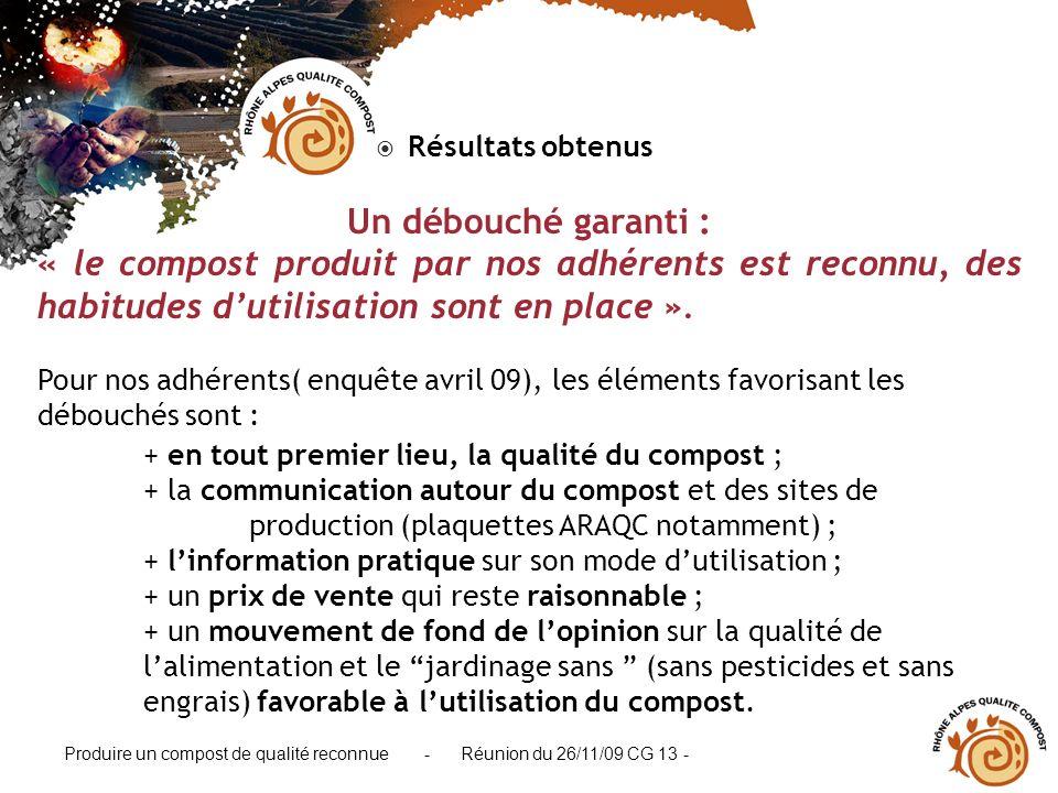 Résultats obtenus Un débouché garanti : « le compost produit par nos adhérents est reconnu, des habitudes d'utilisation sont en place ».