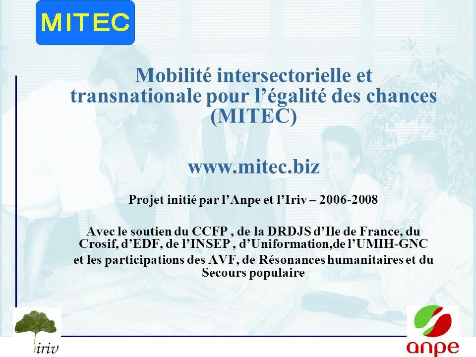 Projet initié par l'Anpe et l'Iriv – 2006-2008