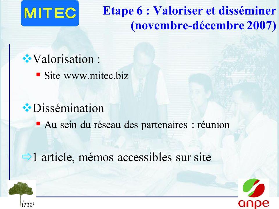 Etape 6 : Valoriser et disséminer (novembre-décembre 2007)
