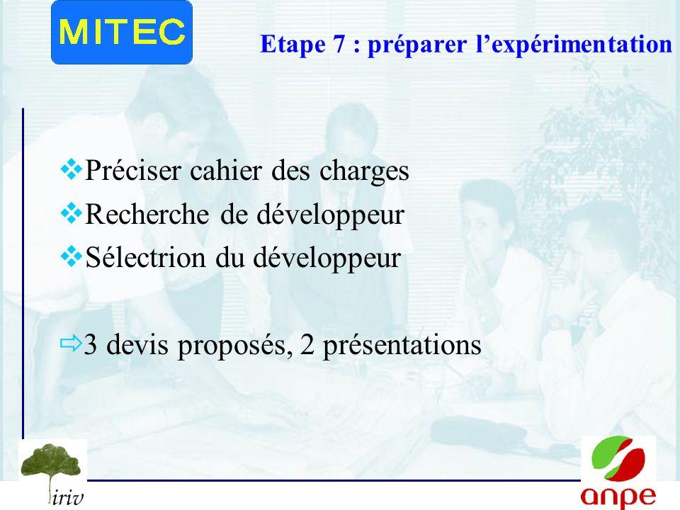 Etape 7 : préparer l'expérimentation