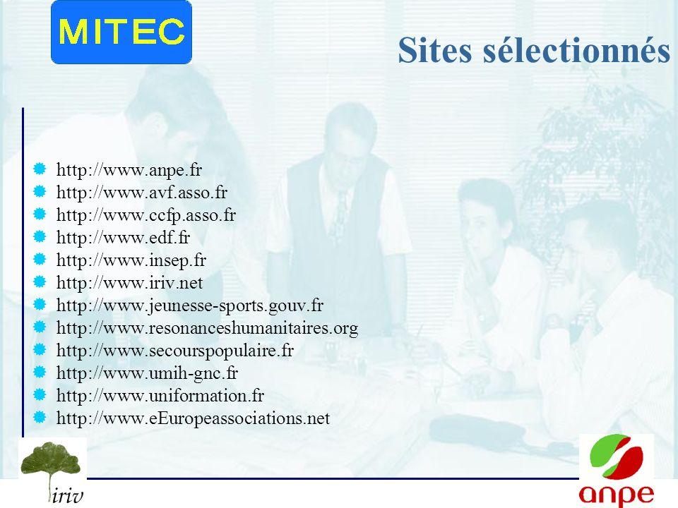 Sites sélectionnés http://www.anpe.fr http://www.avf.asso.fr