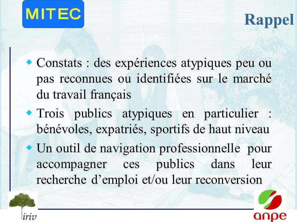 Rappel Constats : des expériences atypiques peu ou pas reconnues ou identifiées sur le marché du travail français.