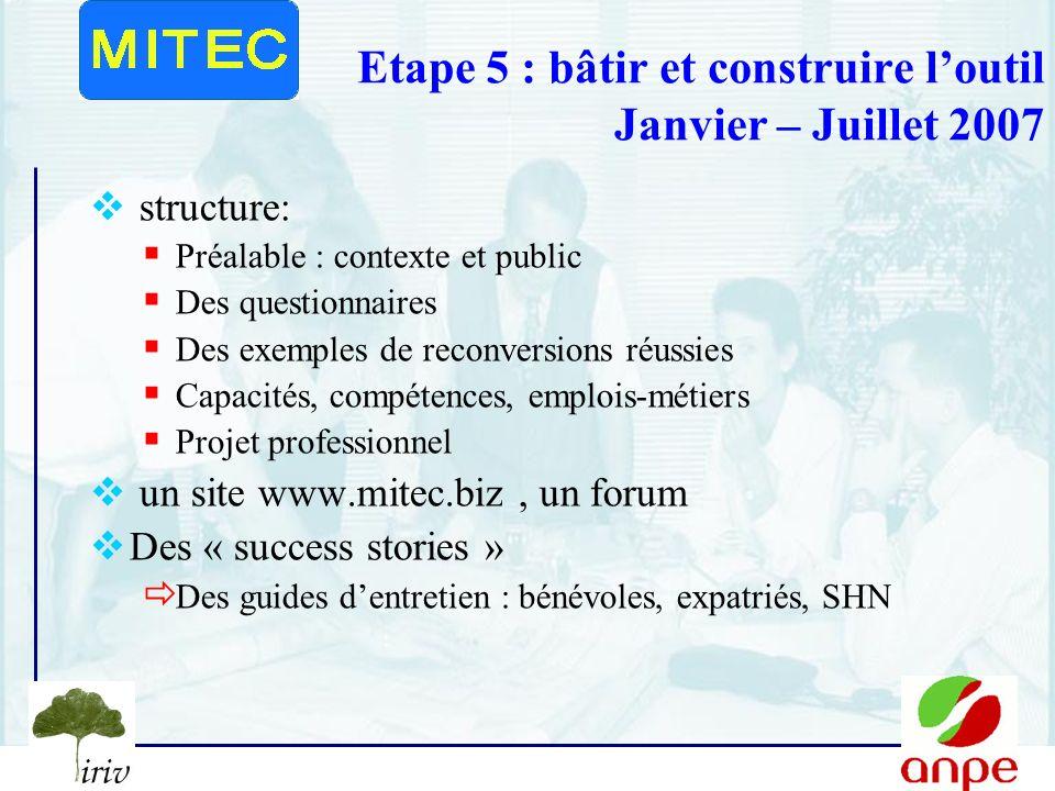Etape 5 : bâtir et construire l'outil Janvier – Juillet 2007