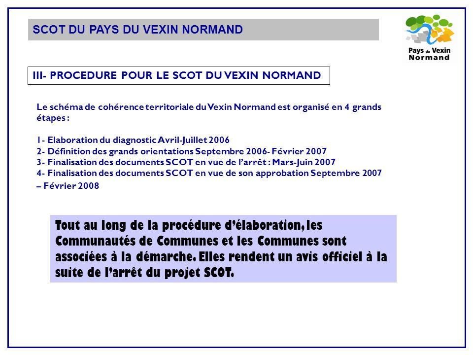 III- PROCEDURE POUR LE SCOT DU VEXIN NORMAND