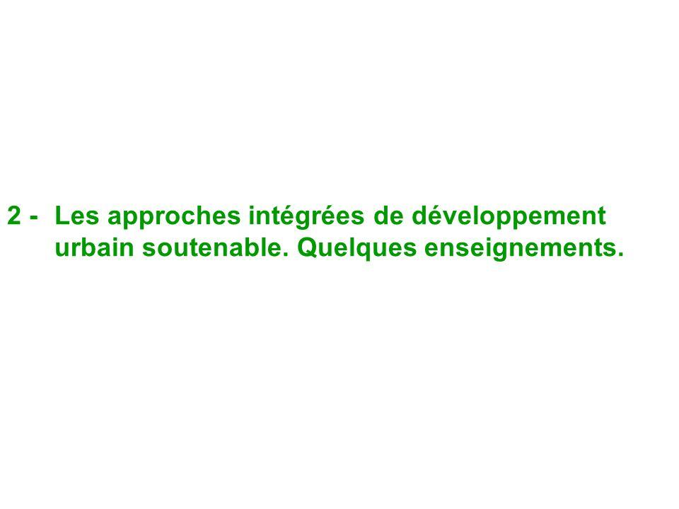 2 -. Les approches intégrées de développement urbain soutenable