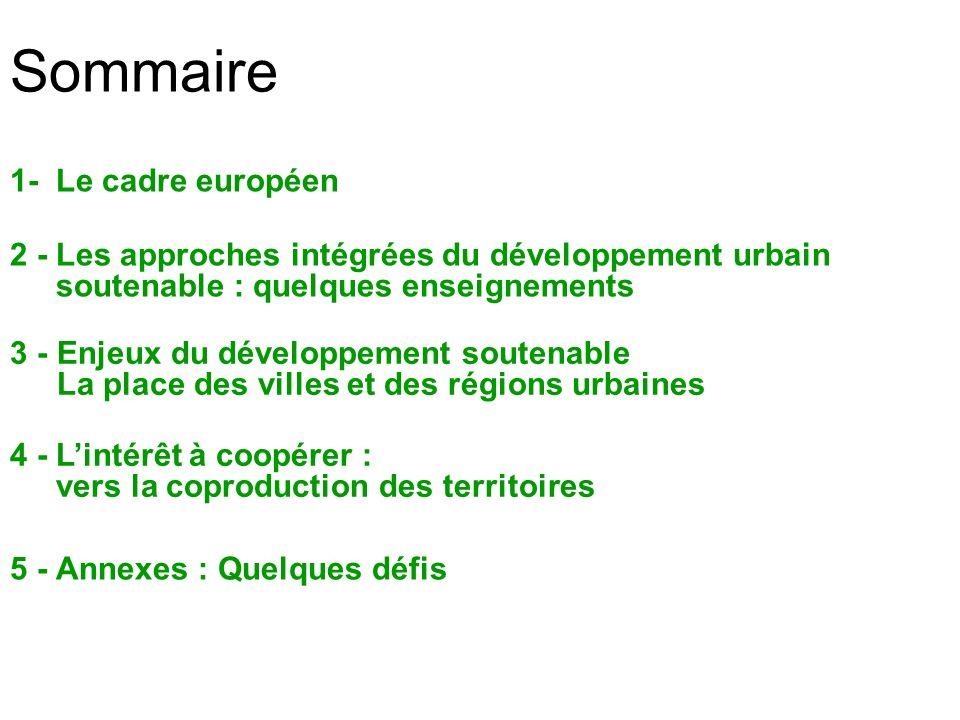 Sommaire 1- Le cadre européen