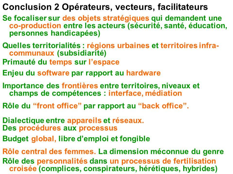 Conclusion 2 Opérateurs, vecteurs, facilitateurs