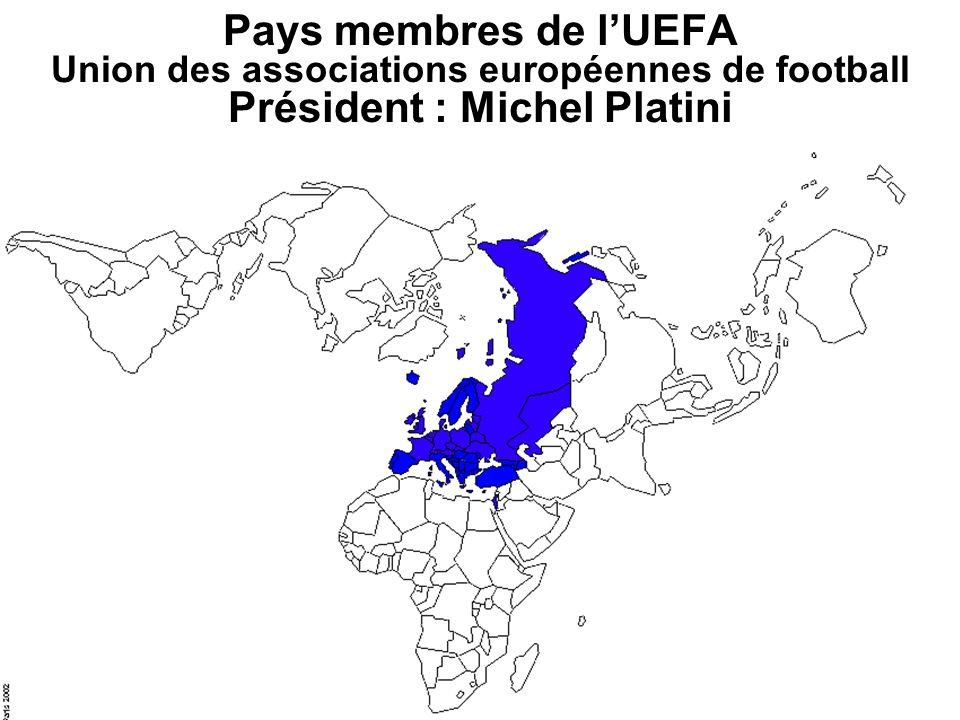 Pays membres de l'UEFA Union des associations européennes de football Président : Michel Platini