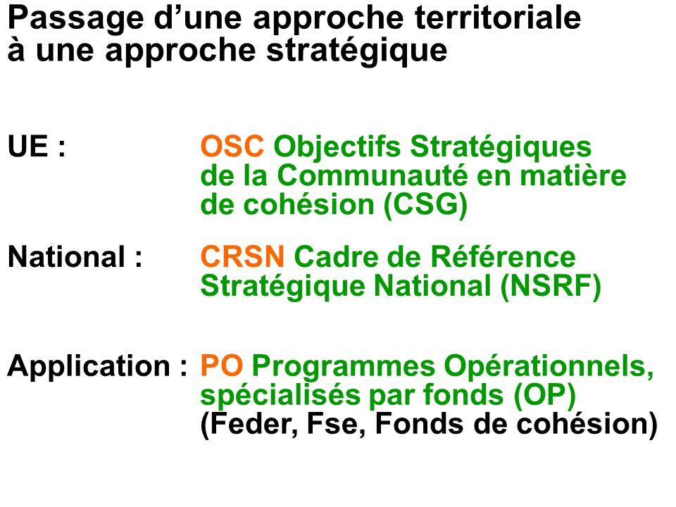 Passage d'une approche territoriale à une approche stratégique