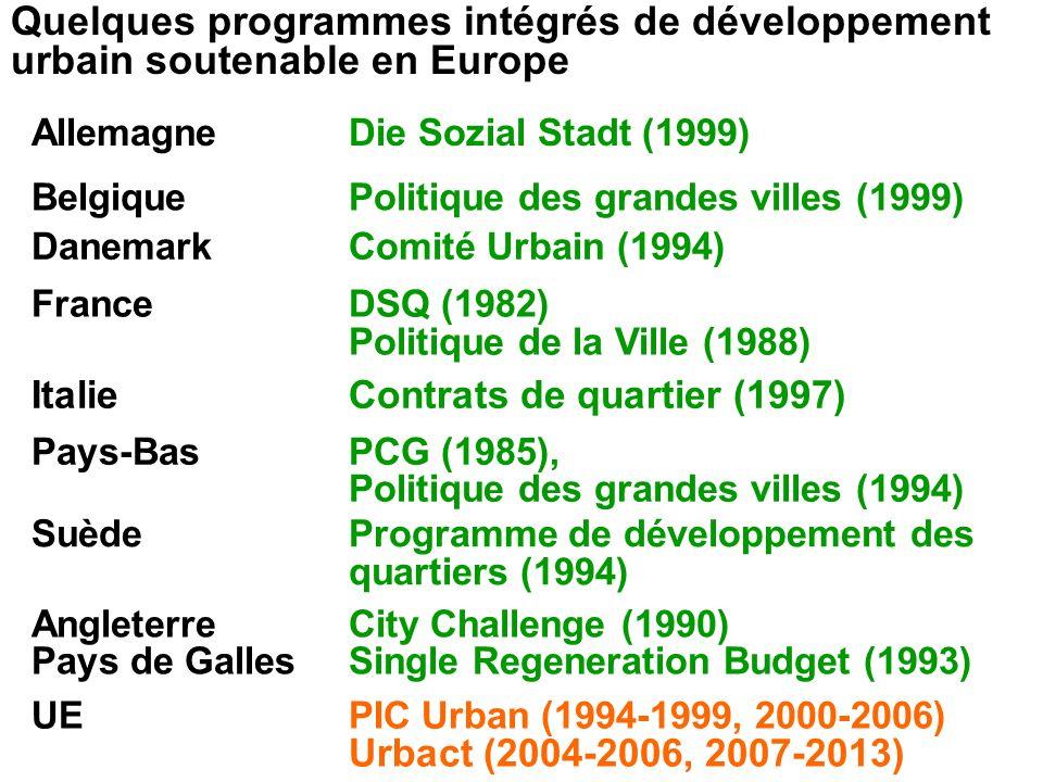 Quelques programmes intégrés de développement urbain soutenable en Europe