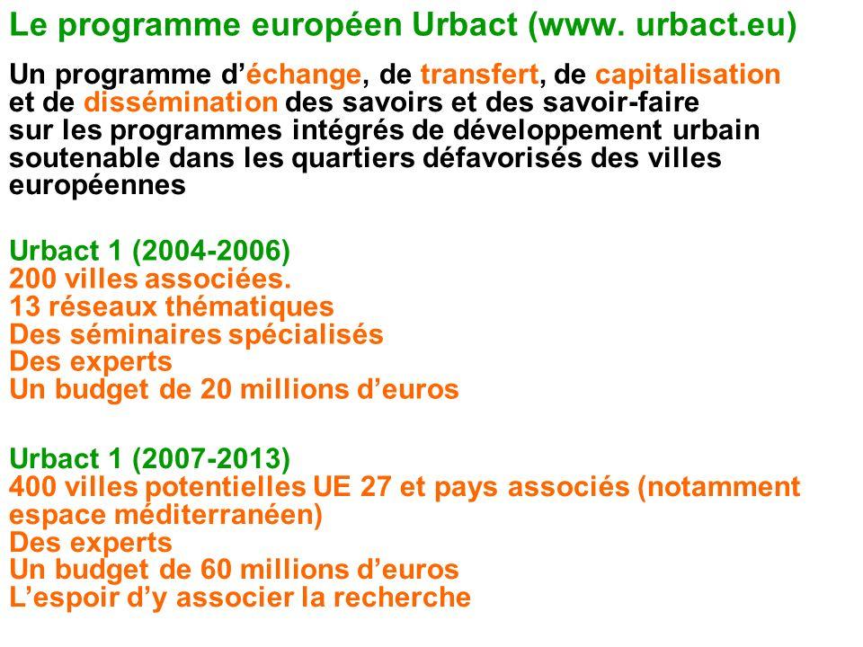 Le programme européen Urbact (www. urbact.eu)
