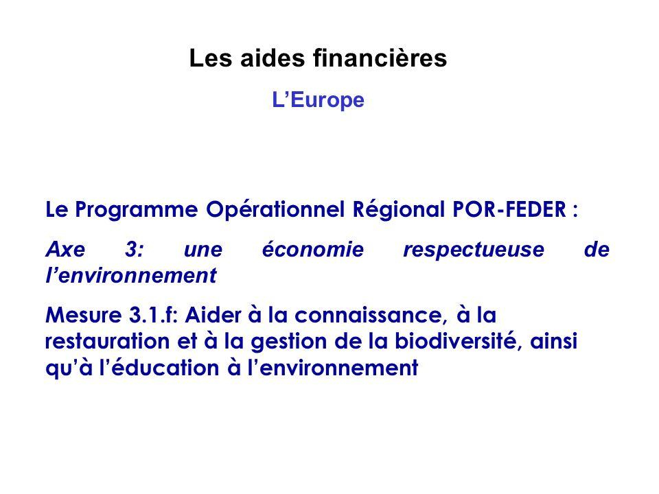 Les aides financières L'Europe