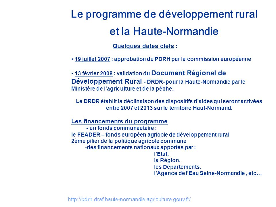 Le programme de développement rural et la Haute-Normandie