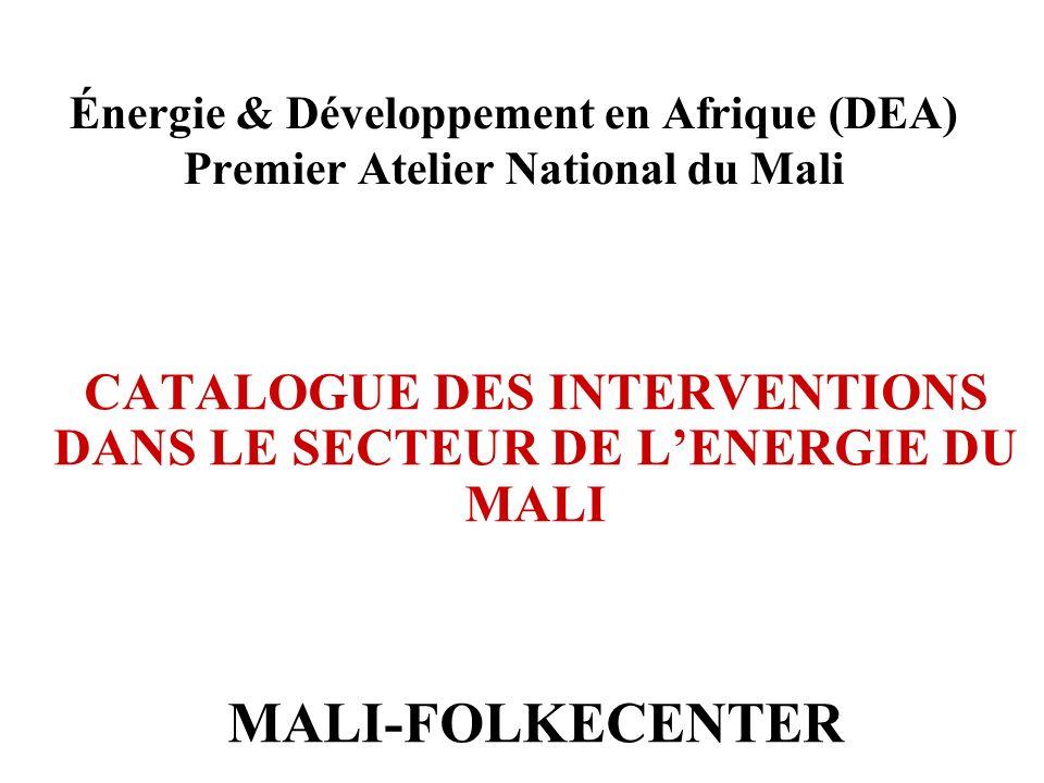 CATALOGUE DES INTERVENTIONS DANS LE SECTEUR DE L'ENERGIE DU MALI