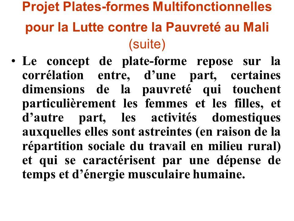 Projet Plates-formes Multifonctionnelles pour la Lutte contre la Pauvreté au Mali (suite)