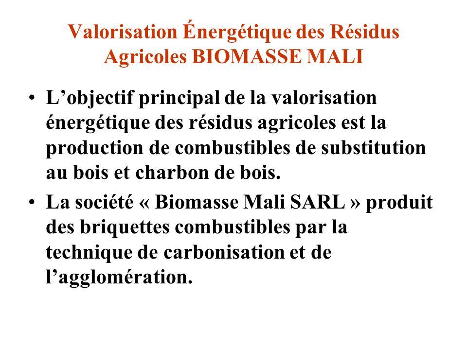 Valorisation Énergétique des Résidus Agricoles BIOMASSE MALI
