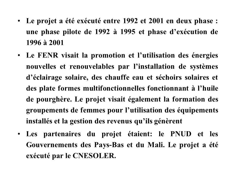 Le projet a été exécuté entre 1992 et 2001 en deux phase : une phase pilote de 1992 à 1995 et phase d'exécution de 1996 à 2001