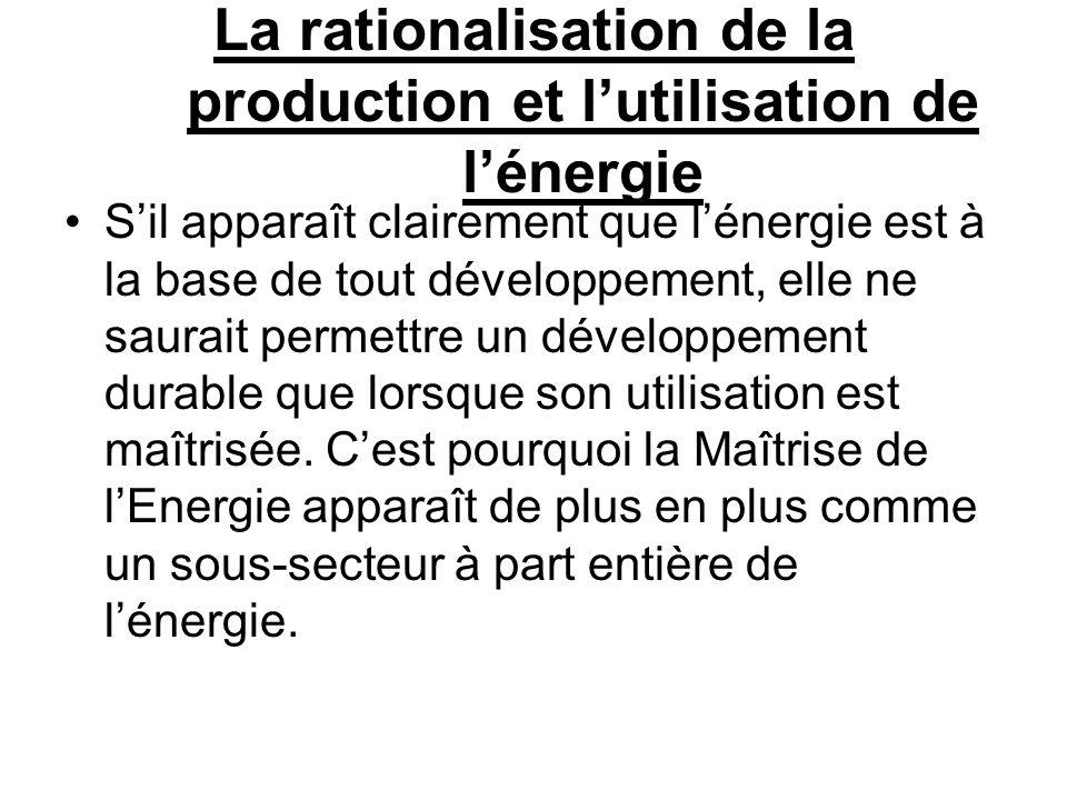 La rationalisation de la production et l'utilisation de l'énergie
